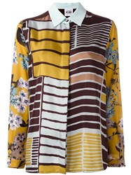 Si Jay Patchwork Blouse Brown