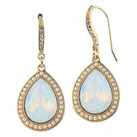 Adele Marie Pear Shape Bead And Faux Pearl Drop Earrings Gold Crystal Blue