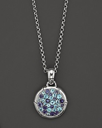 John Hardy Bamboo Silver Lagoon Colorway Small Round Pendant With Swiss Blue Topaz And Iolite On Chain Necklace 18 No Color
