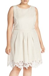 Plus Size Women's Tahari Eyelet Hem Fit And Flare Dress