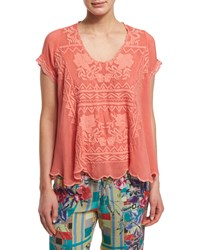 Johnny Was Delamo Short Sleeve Flair Blouse Red Coral