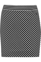 Rag And Bone Mod Striped Stretch Jersey Mini Skirt Black