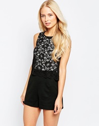 Lipsy Playsuit With Lace Top 011Black