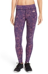 The North Face Women's 'Pulse' Compression Tights Patriot Blue Rain Plaid Print