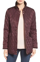 Vince Camuto Women's Velvet Trim Quilted Riding Jacket Wine