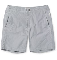 Onia Calder Mid Length Checked Seersucker Swim Shorts Gray