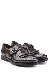 Churchs Leather Monk Shoes With Fringe Multicolor