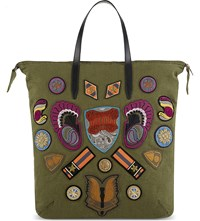 Dries Van Noten Tote Bag With Patches Khaki