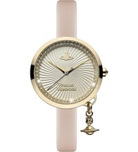 Vivienne Westwood Vv139whpk Time Machine Stainless Steel And Leather Watch Silver
