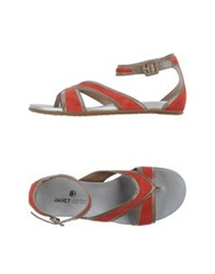 Janet Sport Thong Sandals Red