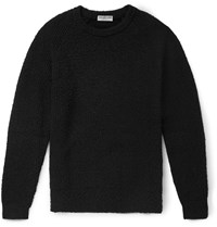 Balenciaga Distressed Cotton Blend Sweater Black