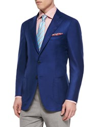 Isaia Cashmere Silk Blazer Royal Blue