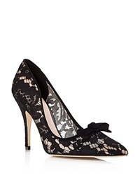 Kate Spade New York Lisa Too Lace Pointed Toe High Heel Pumps Black