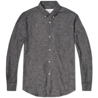1940S Button Down Shirt Black Chambray