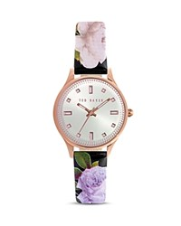 Ted Baker Charm Floral Leather Watch 32Mm Silver