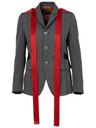 Undercover Striped Blazer Jacket Grey