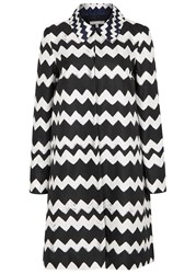 Paule Ka Monochrome Zigzag Silk Twill Coat Black And White