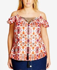 City Chic Trendy Plus Size Off The Shoulder Top Sunset