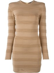 Balmain Striped Pattern Fitted Dress Nude And Neutrals