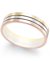 Macy's Tri Color Band In 18K White Yellow And Rose Gold Tri Tone