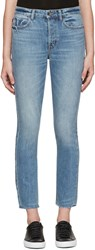 Helmut Lang Blue High Rise Fray Crop Jeans