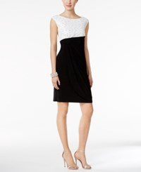 Connected Sequined Lace Faux Wrap Dress Ivory Black