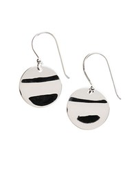 Lord And Taylor Sterling Silver Rippled Disc Drop Earrings