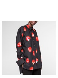 Paul Smith Women's Black Double Cuff Cotton Shirt With 'Apple' Print