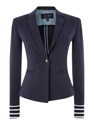 Armani Jeans Single Breasted Stripe Cuff Blazer Navy