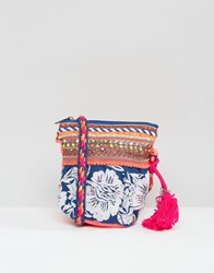Glamorous Floral Embroidered Cross Body Bag Blue Multi
