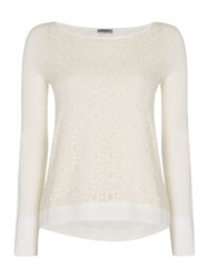 Marella Odino Round Neck Long Sleeve Lace Front Top Cream