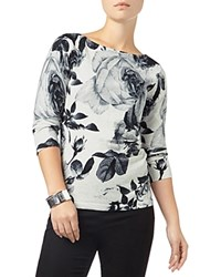Phase Eight Shantay Rose Print Knit Top Monochrome