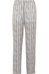 Theyskens' Theory Printed Silk Wide Leg Pants White