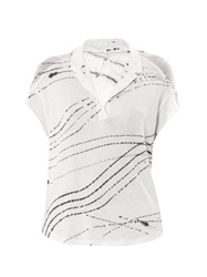 Raquel Allegra Rain Optic Print Polo Cocoon Top