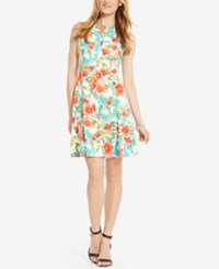 American Living Floral Print Sateen Dress Blue Coral Floral