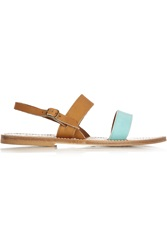 K Jacques St Tropez Leather And Suede Sandals Brown