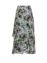 Erdem Bridget Field Flower Print Silk Crepe Skirt Green Multi