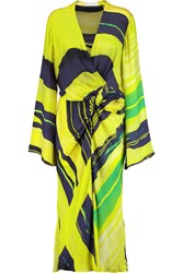 Amanda Wakeley Wrap Effect Printed Silk Chiffon Dress Yellow