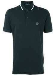 Dolce And Gabbana Embroidered Crown Polo Shirt Green