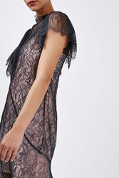 Boutique Lace Ruffle Dress By Navy Blue