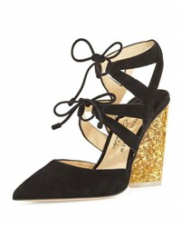 Paul Andrew Ronja Suede Lace Up Glitter Heel Pump Black
