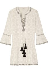 Talitha Ria Embroidered Cotton Poplin Mini Dress Off White