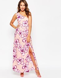Love One Shoulder Maxi Dress Pink Floral