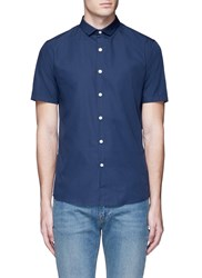 Topman Short Sleeve Poplin Shirt Blue