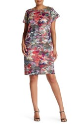 Maggy London Short Sleeve Linear Abstract Shift Dress Plus Size Multi