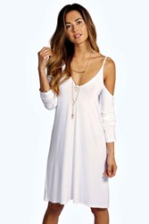 Boohoo Cut Out Swing Dress White