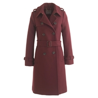 J.Crew Icon Trench Coat In Wool Cashmere Cabernet