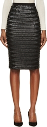 Burberry Black Silk Sequin Embroidered Midi Skirt