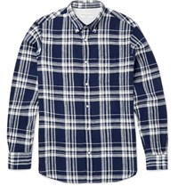 Officine Generale Checked Linen And Cotton Blend Shirt Blue