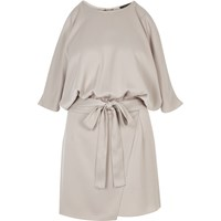 River Island Womens Silver Satin Cold Shoulder Playsuit